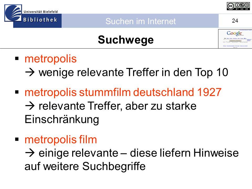 Suchen im Internet 24 metropolis wenige relevante Treffer in den Top 10 metropolis stummfilm deutschland 1927 relevante Treffer, aber zu starke Einschränkung metropolis film einige relevante – diese liefern Hinweise auf weitere Suchbegriffe Suchwege