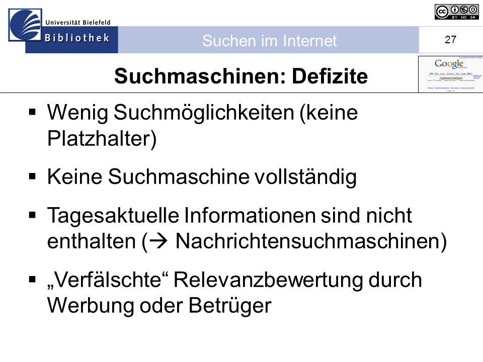 Suchen im Internet 27 Wenig Suchmöglichkeiten (keine Platzhalter) Keine Suchmaschine vollständig Tagesaktuelle Informationen sind nicht enthalten ( Nachrichtensuchmaschinen) Verfälschte Relevanzbewertung durch Werbung oder Betrüger Suchmaschinen: Defizite