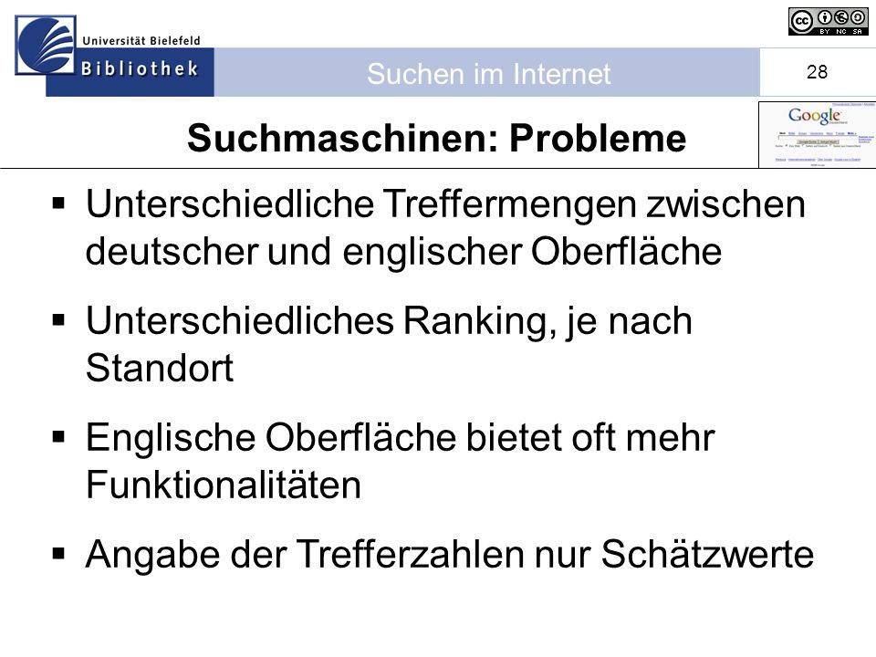 Suchen im Internet 28 Unterschiedliche Treffermengen zwischen deutscher und englischer Oberfläche Unterschiedliches Ranking, je nach Standort Englische Oberfläche bietet oft mehr Funktionalitäten Angabe der Trefferzahlen nur Schätzwerte Suchmaschinen: Probleme