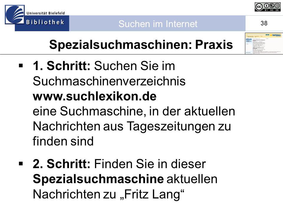Suchen im Internet 38 1.