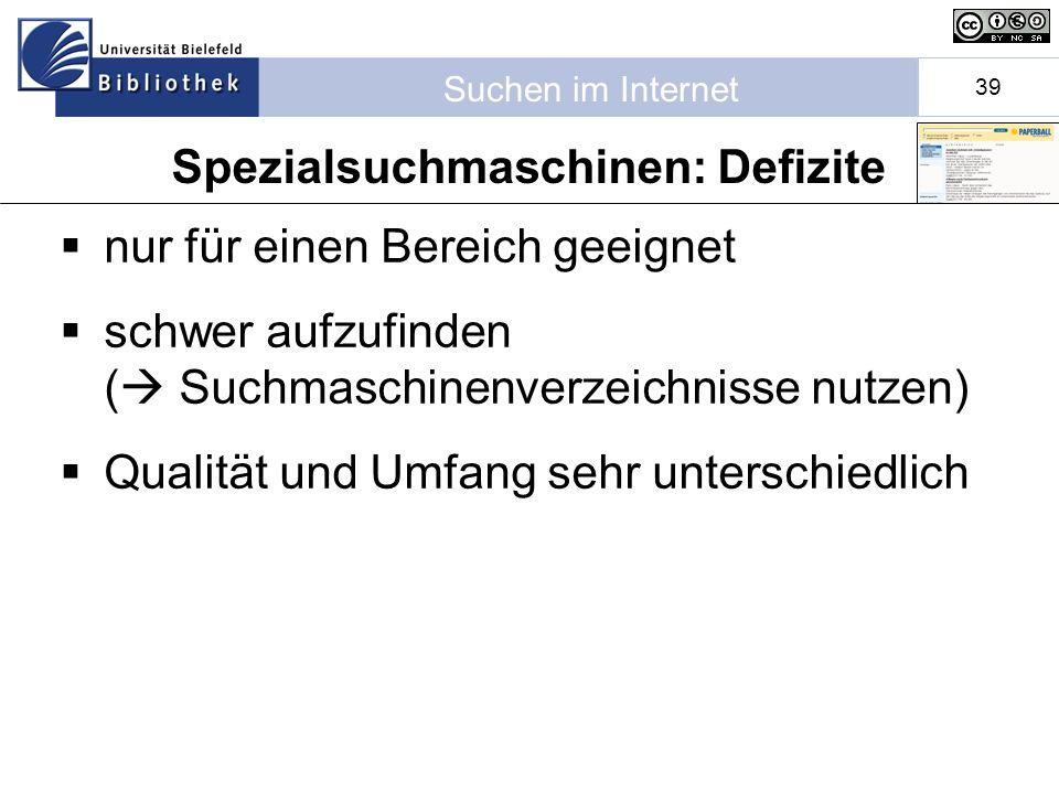 Suchen im Internet 39 nur für einen Bereich geeignet schwer aufzufinden ( Suchmaschinenverzeichnisse nutzen) Qualität und Umfang sehr unterschiedlich Spezialsuchmaschinen: Defizite