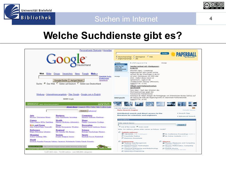 Suchen im Internet 4 Welche Suchdienste gibt es?