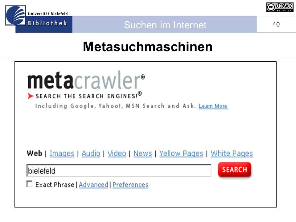 Suchen im Internet 40 Metasuchmaschinen
