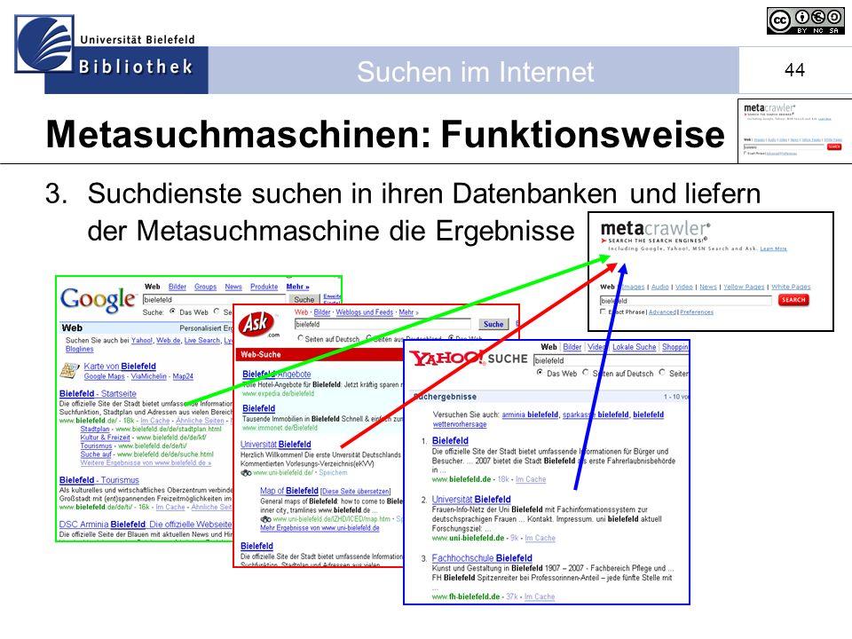 Suchen im Internet 44 3.Suchdienste suchen in ihren Datenbanken und liefern der Metasuchmaschine die Ergebnisse Metasuchmaschinen: Funktionsweise