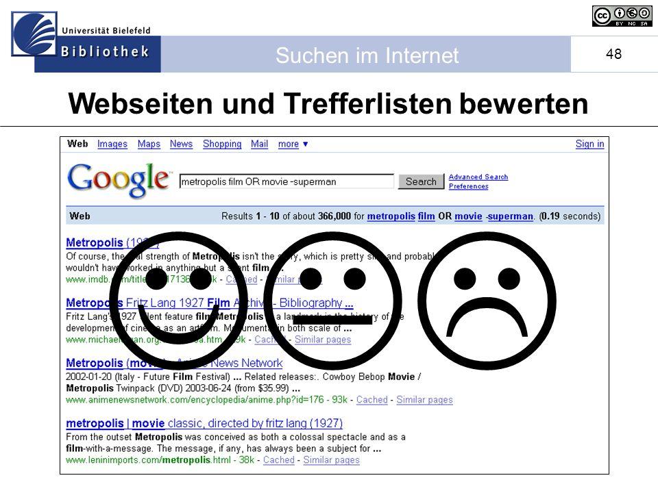 Suchen im Internet 48 Webseiten und Trefferlisten bewerten