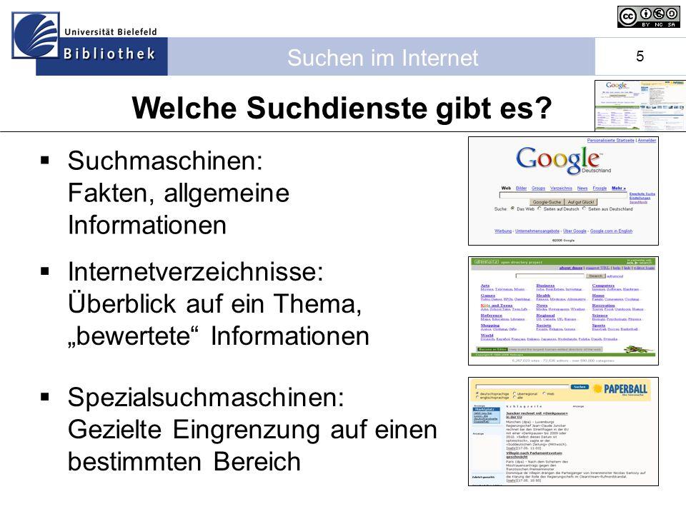 Suchen im Internet 5 Suchmaschinen: Fakten, allgemeine Informationen Internetverzeichnisse: Überblick auf ein Thema, bewertete Informationen Spezialsuchmaschinen: Gezielte Eingrenzung auf einen bestimmten Bereich Welche Suchdienste gibt es?