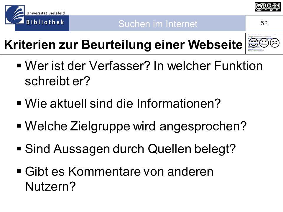 Suchen im Internet 52 Wer ist der Verfasser.In welcher Funktion schreibt er.