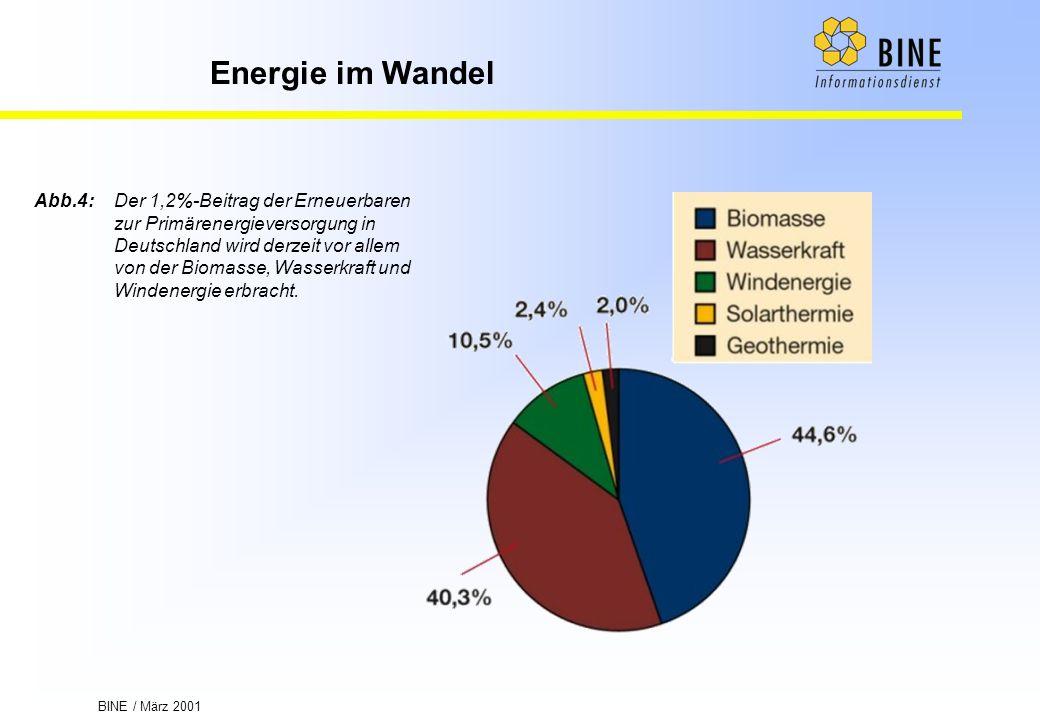 BINE / März 2001 Energie im Wandel Abb.4:Der 1,2%-Beitrag der Erneuerbaren zur Primärenergieversorgung in Deutschland wird derzeit vor allem von der B
