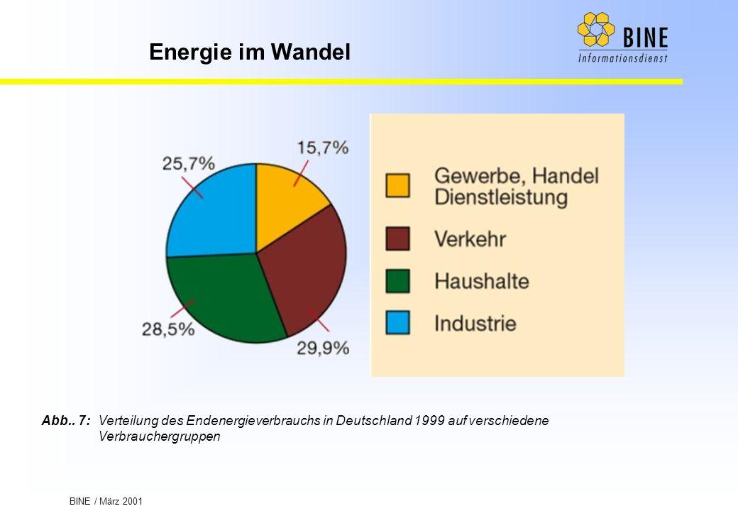 BINE / März 2001 Energie im Wandel Abb.. 7:Verteilung des Endenergieverbrauchs in Deutschland 1999 auf verschiedene Verbrauchergruppen