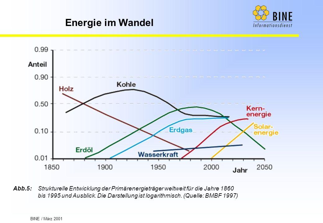 BINE / März 2001 Energie im Wandel Abb.5:Strukturelle Entwicklung der Primärenergieträger weltweit für die Jahre 1860 bis 1995 und Ausblick. Die Darst