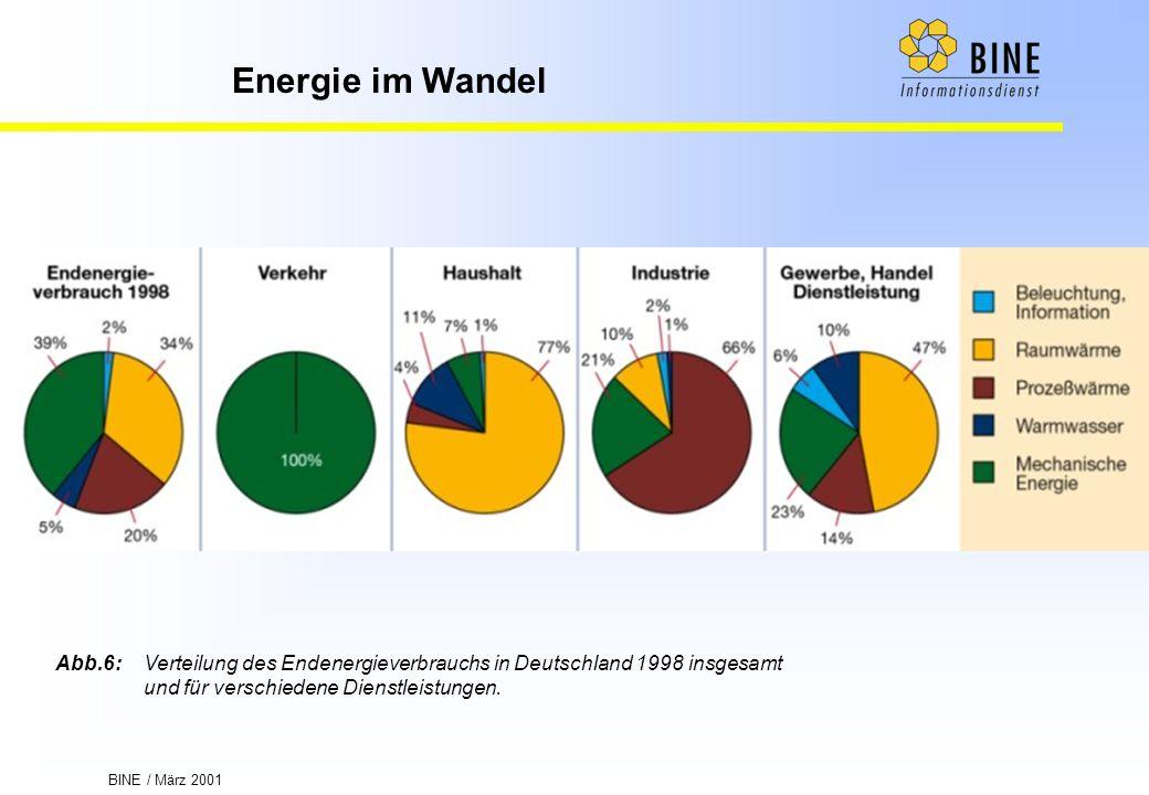 BINE / März 2001 Energie im Wandel Abb.6:Verteilung des Endenergieverbrauchs in Deutschland 1998 insgesamt und für verschiedene Dienstleistungen.