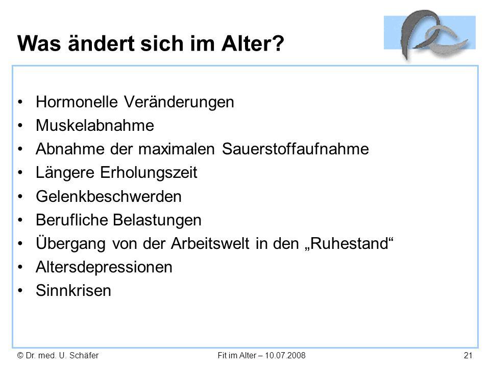 © Dr. med. U. SchäferFit im Alter – 10.07.200821 Was ändert sich im Alter? Hormonelle Veränderungen Muskelabnahme Abnahme der maximalen Sauerstoffaufn