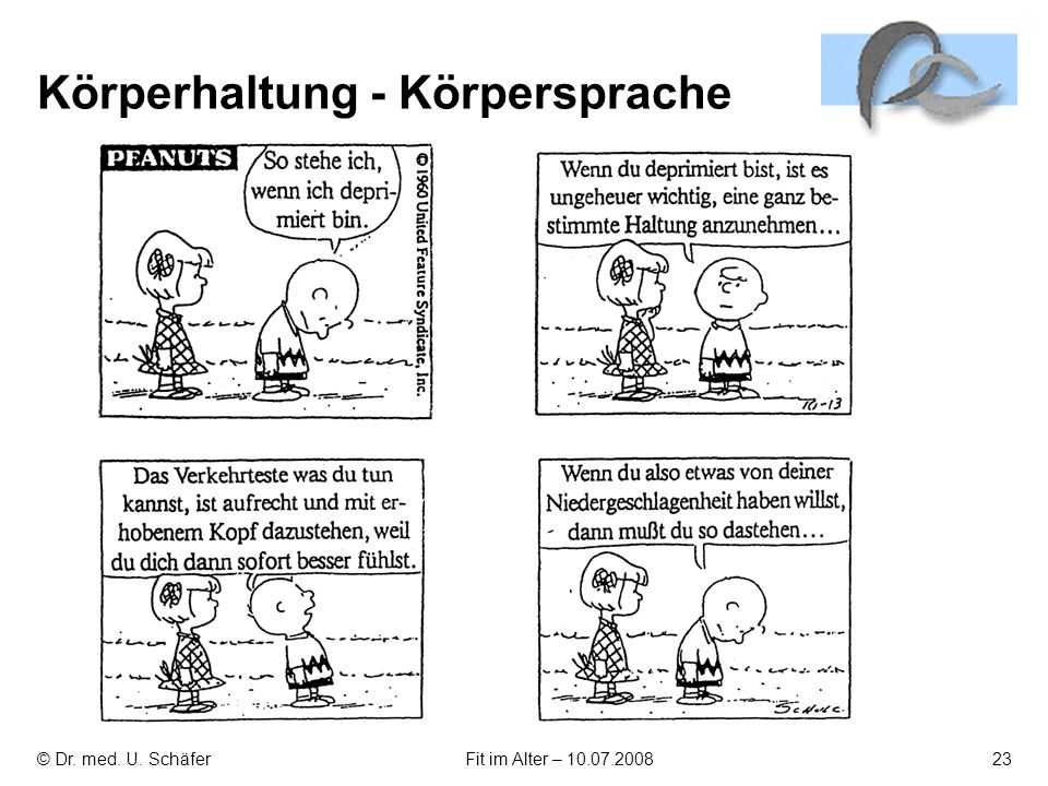 © Dr. med. U. SchäferFit im Alter – 10.07.200823 Körperhaltung - Körpersprache