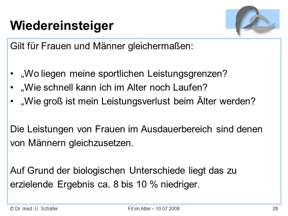 © Dr. med. U. SchäferFit im Alter – 10.07.200828 Wiedereinsteiger Gilt für Frauen und Männer gleichermaßen: Wo liegen meine sportlichen Leistungsgrenz