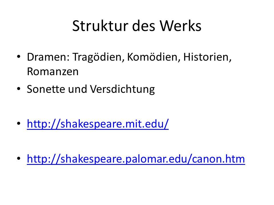 Struktur des Werks Dramen: Tragödien, Komödien, Historien, Romanzen Sonette und Versdichtung http://shakespeare.mit.edu/ http://shakespeare.palomar.ed
