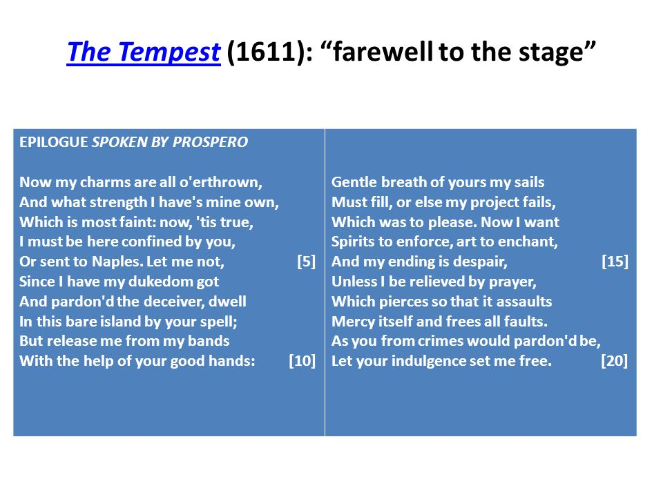 The TempestThe Tempest (1611): farewell to the stage EPILOGUE SPOKEN BY PROSPERO Now my charms are all o'erthrown, And what strength I have's mine own