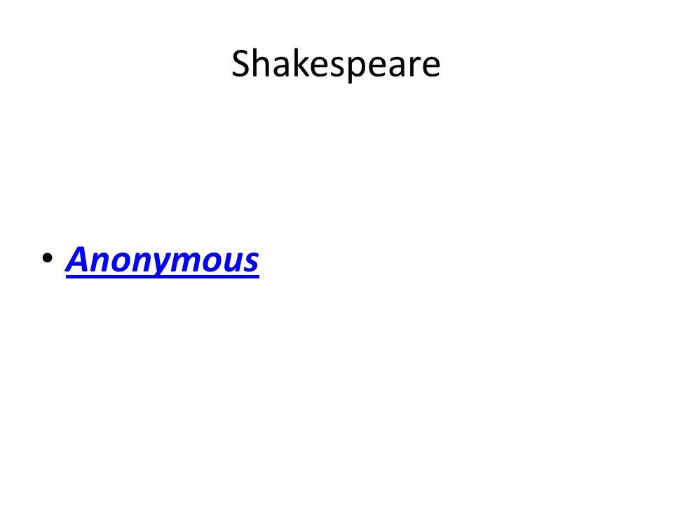 Shakespeare Anonymous