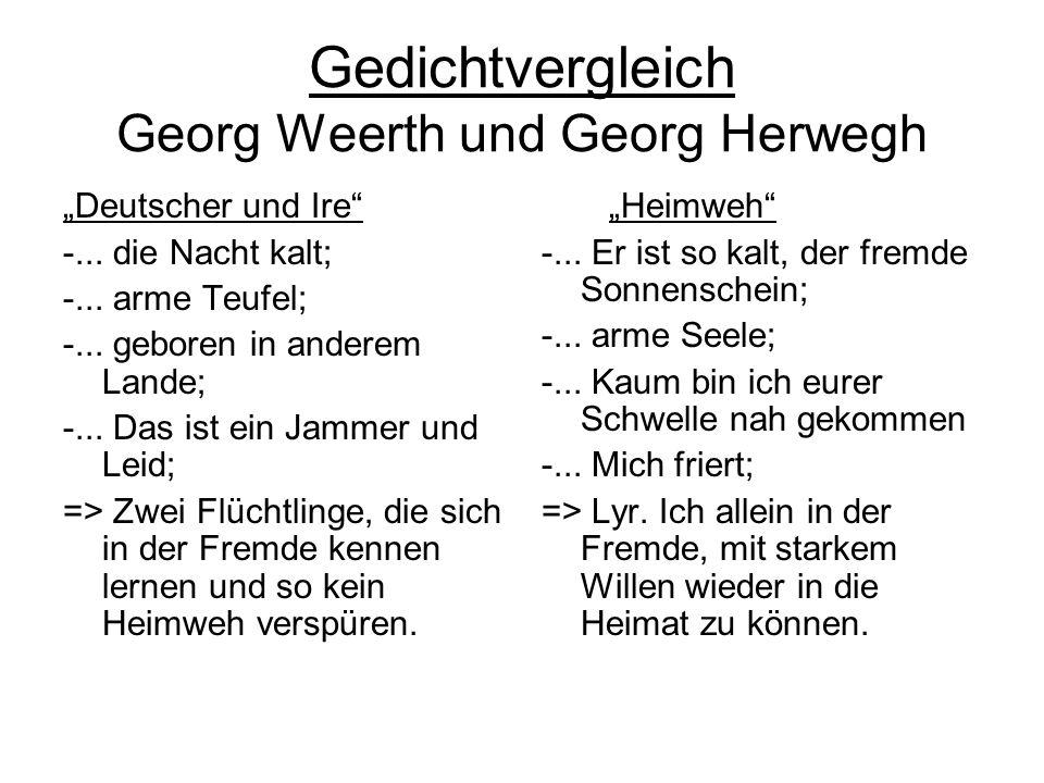 Gedichtvergleich Georg Weerth und Georg Herwegh Deutscher und Ire -... die Nacht kalt; -... arme Teufel; -... geboren in anderem Lande; -... Das ist e