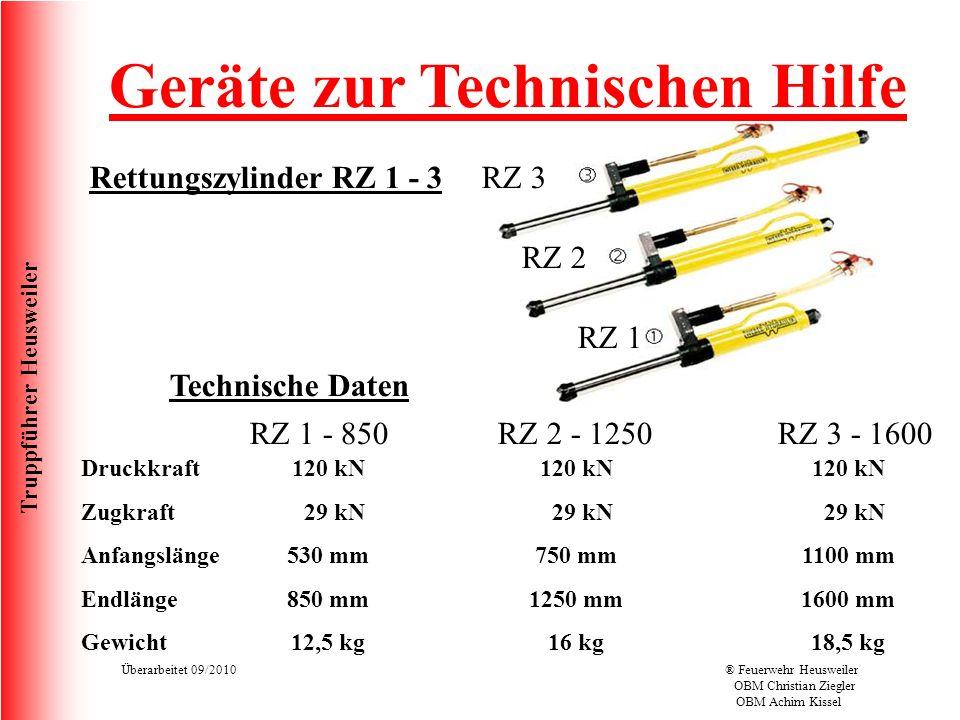 Truppführer Heusweiler Überarbeitet 09/2010® Feuerwehr Heusweiler OBM Christian Ziegler OBM Achim Kissel Rettungszylinder RZ 1 - 3 Geräte zur Technischen Hilfe RZ 1 RZ 2 RZ 3 Technische Daten Druckkraft Zugkraft Anfangslänge Endlänge Gewicht RZ 1 - 850 RZ 2 - 1250 RZ 3 - 1600 120 kN 29 kN 750 mm 1250 mm 16 kg 120 kN 29 kN 530 mm 850 mm 12,5 kg 120 kN 29 kN 1100 mm 1600 mm 18,5 kg