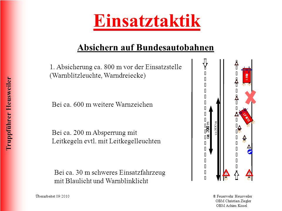 Truppführer Heusweiler Überarbeitet 09/2010® Feuerwehr Heusweiler OBM Christian Ziegler OBM Achim Kissel Einsatztaktik Absichern auf Bundesautobahnen ca.800 m 1.