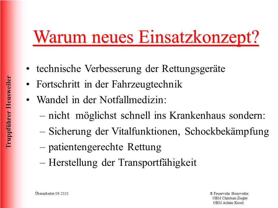 Truppführer Heusweiler Überarbeitet 09/2010® Feuerwehr Heusweiler OBM Christian Ziegler OBM Achim Kissel Warum neues Einsatzkonzept.