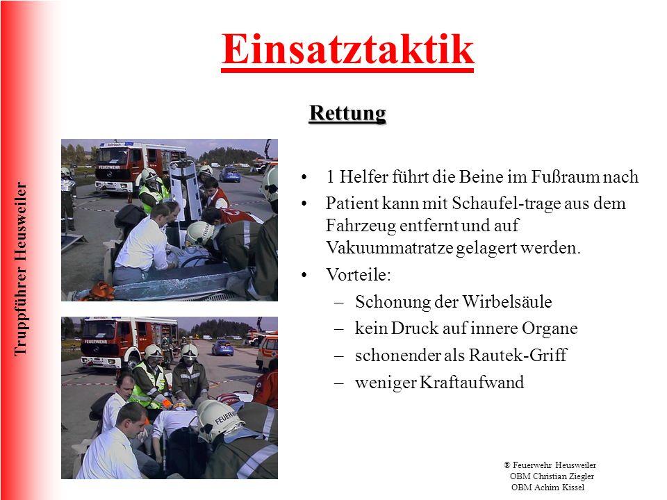 Truppführer Heusweiler Überarbeitet 09/2010® Feuerwehr Heusweiler OBM Christian Ziegler OBM Achim Kissel Einsatztaktik Rettung 1 Helfer führt die Beine im Fußraum nach Patient kann mit Schaufel-trage aus dem Fahrzeug entfernt und auf Vakuummatratze gelagert werden.