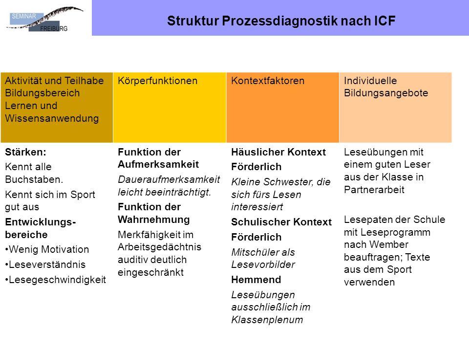 Struktur Prozessdiagnostik nach ICF Aktivität und Teilhabe Bildungsbereich Lernen und Wissensanwendung KörperfunktionenKontextfaktorenIndividuelle Bil