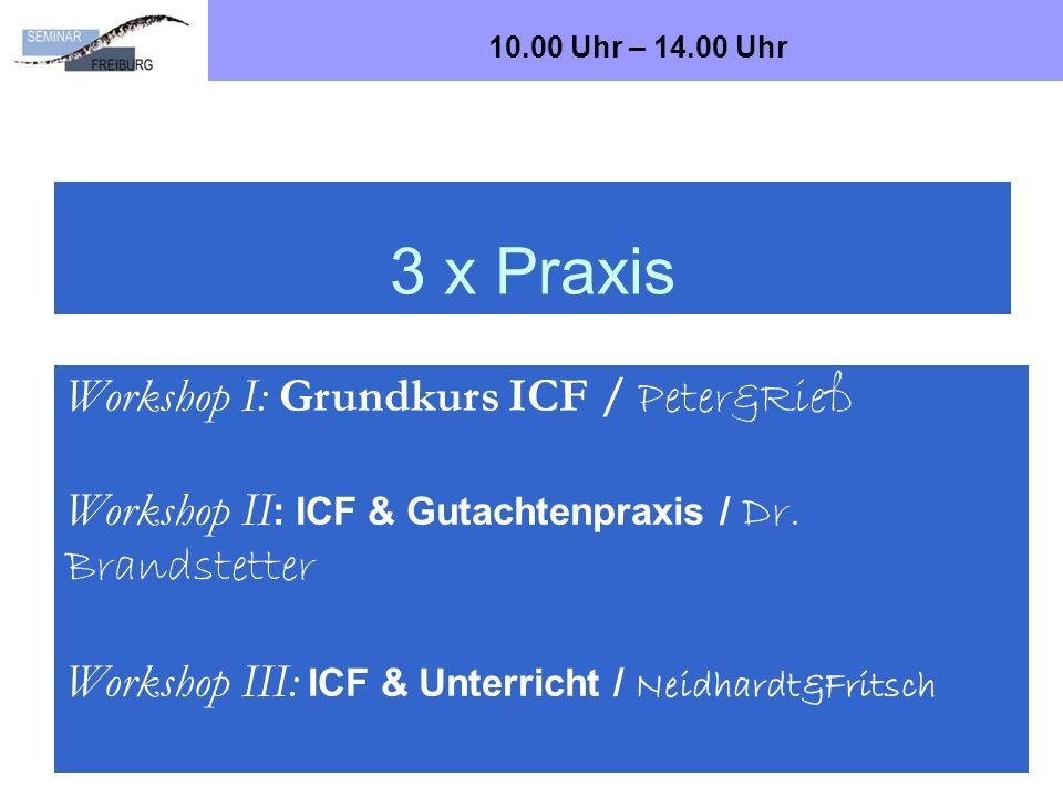 3 x Praxis Bad Wildbad, Oktober 2012Dr. Ralf Brandstetter, Seminar Freiburg, Abt. SoS21 Workshop I: Grundkurs ICF / Peter&Rieß Workshop II : ICF & Gut