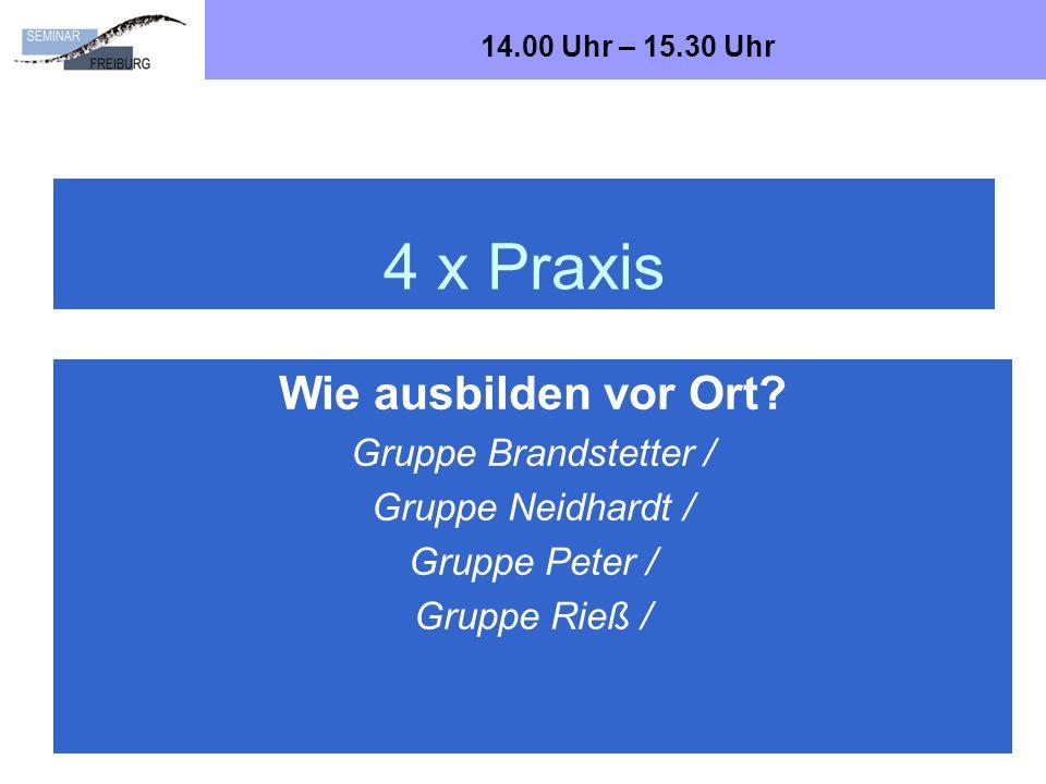 4 x Praxis Bad Wildbad, Oktober 2012Dr. Ralf Brandstetter, Seminar Freiburg, Abt. SoS22 Wie ausbilden vor Ort? Gruppe Brandstetter / Gruppe Neidhardt
