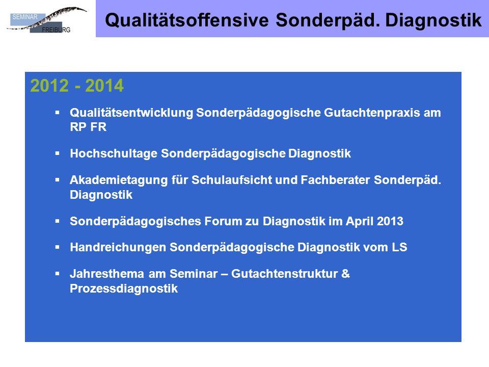 Qualitätsoffensive Sonderpäd. Diagnostik 2012 - 2014 Qualitätsentwicklung Sonderpädagogische Gutachtenpraxis am RP FR Hochschultage Sonderpädagogische
