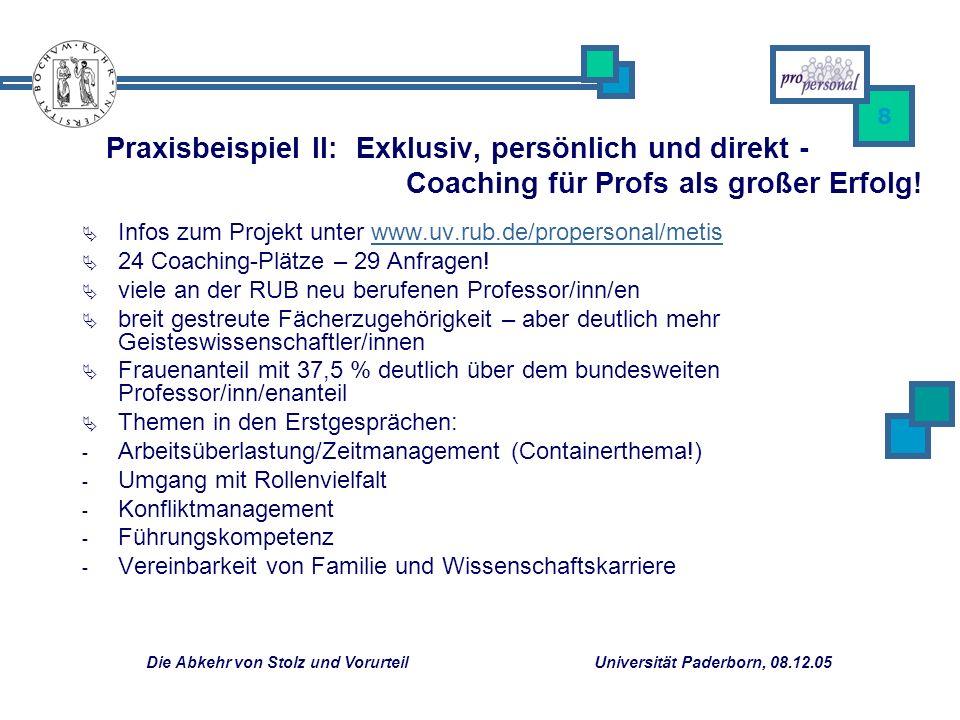Die Abkehr von Stolz und Vorurteil Universität Paderborn, 08.12.05 8 Infos zum Projekt unter www.uv.rub.de/propersonal/metiswww.uv.rub.de/propersonal/metis 24 Coaching-Plätze – 29 Anfragen.