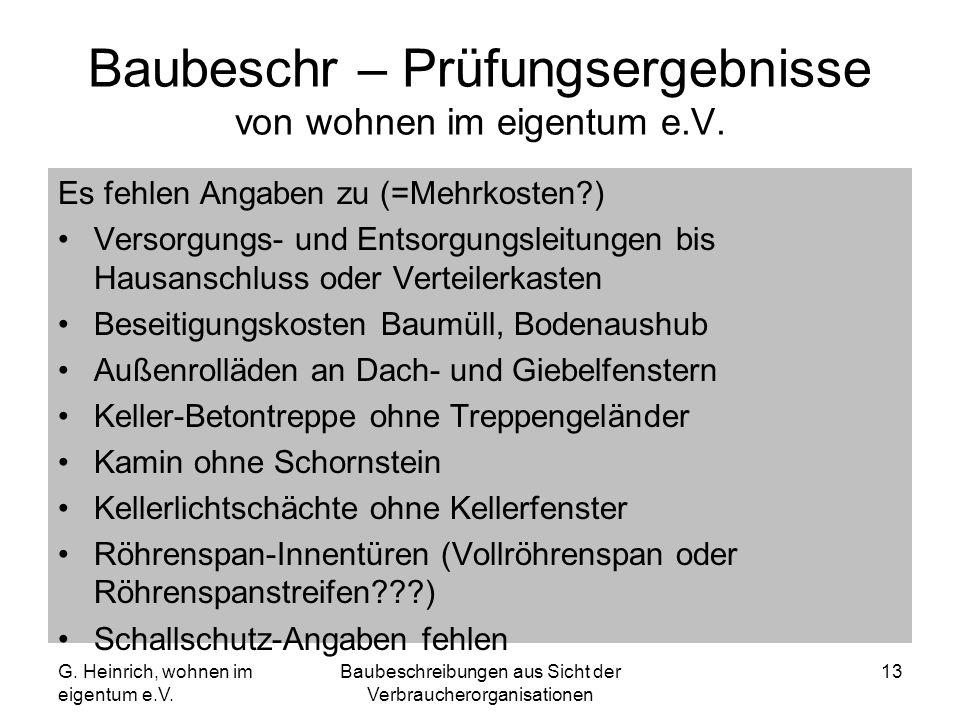 G. Heinrich, wohnen im eigentum e.V. Baubeschreibungen aus Sicht der Verbraucherorganisationen 13 Baubeschr – Prüfungsergebnisse von wohnen im eigentu