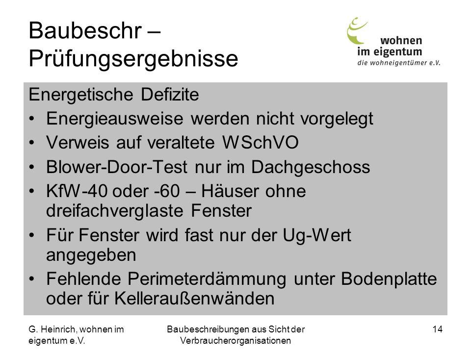 G. Heinrich, wohnen im eigentum e.V. Baubeschreibungen aus Sicht der Verbraucherorganisationen 14 Baubeschr – Prüfungsergebnisse Energetische Defizite