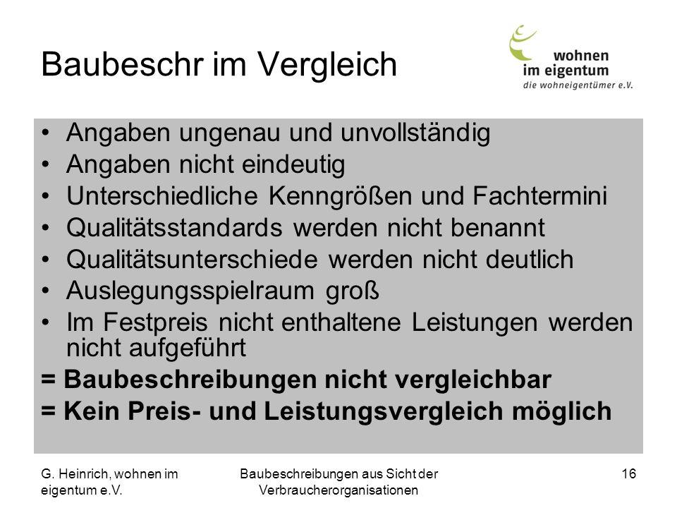 G. Heinrich, wohnen im eigentum e.V. Baubeschreibungen aus Sicht der Verbraucherorganisationen 16 Baubeschr im Vergleich Angaben ungenau und unvollstä