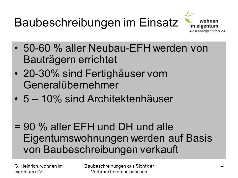 G. Heinrich, wohnen im eigentum e.V. Baubeschreibungen aus Sicht der Verbraucherorganisationen 4 Baubeschreibungen im Einsatz 50-60 % aller Neubau-EFH