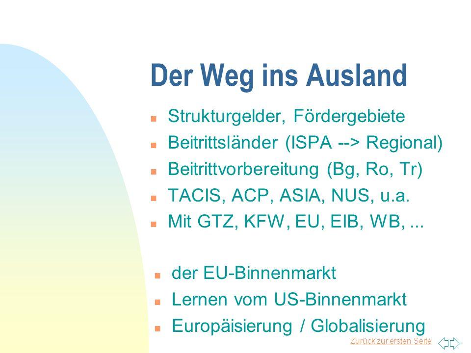 Zurück zur ersten Seite Der Weg ins Ausland n Strukturgelder, Fördergebiete n Beitrittsländer (ISPA --> Regional) n Beitrittvorbereitung (Bg, Ro, Tr) n TACIS, ACP, ASIA, NUS, u.a.