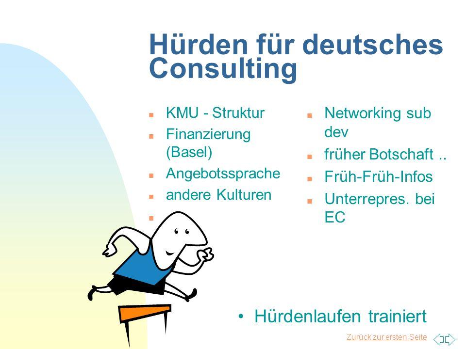 Zurück zur ersten Seite Hürden für deutsches Consulting n KMU - Struktur n Finanzierung (Basel) n Angebotssprache n andere Kulturen n...