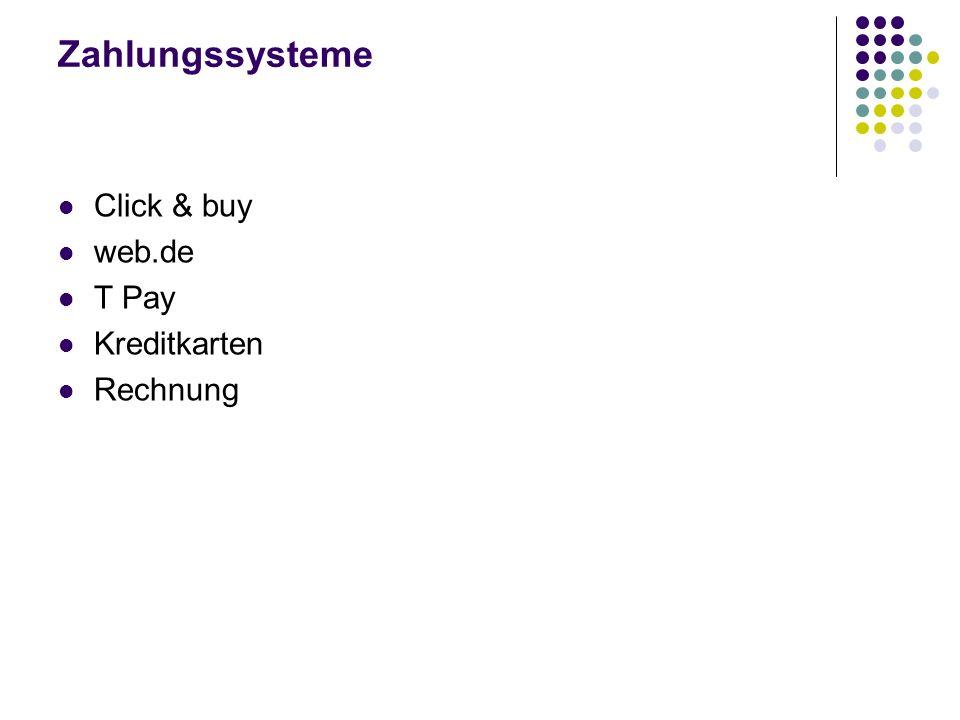 Zahlungssysteme Click & buy web.de T Pay Kreditkarten Rechnung