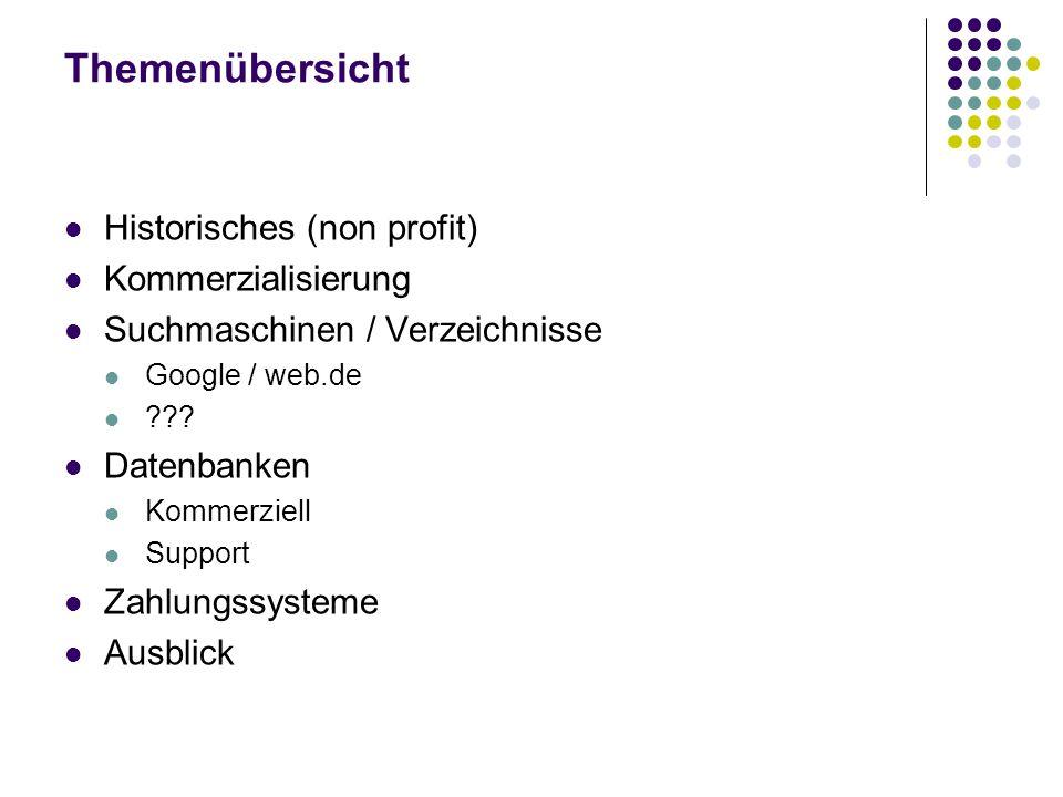 Themenübersicht Historisches (non profit) Kommerzialisierung Suchmaschinen / Verzeichnisse Google / web.de ??? Datenbanken Kommerziell Support Zahlung