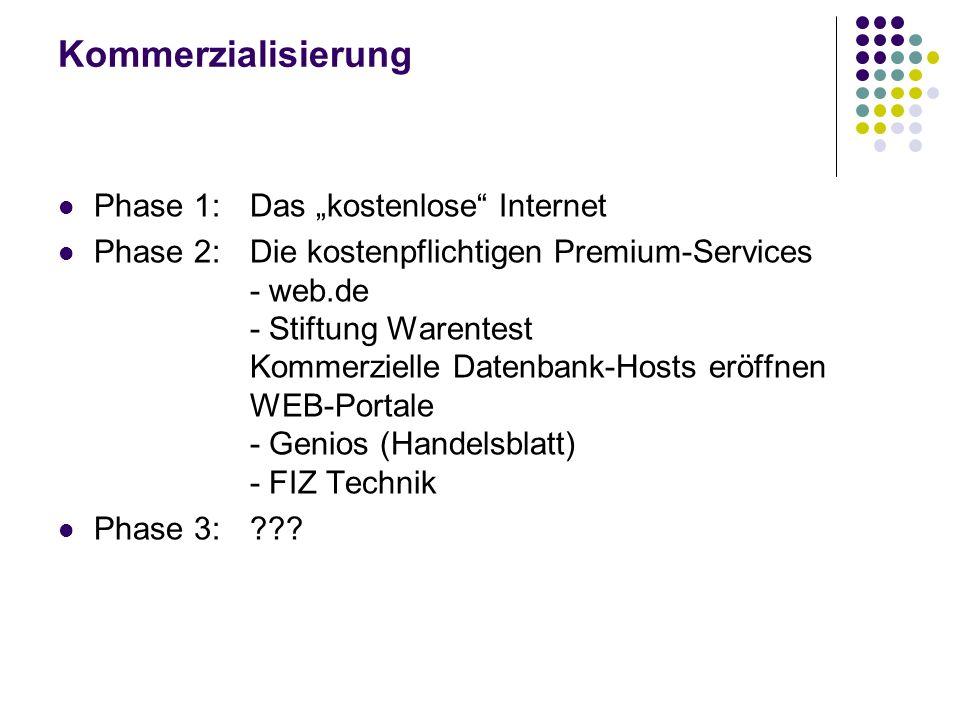 Kommerzialisierung Phase 1:Das kostenlose Internet Phase 2:Die kostenpflichtigen Premium-Services - web.de - Stiftung Warentest Kommerzielle Datenbank