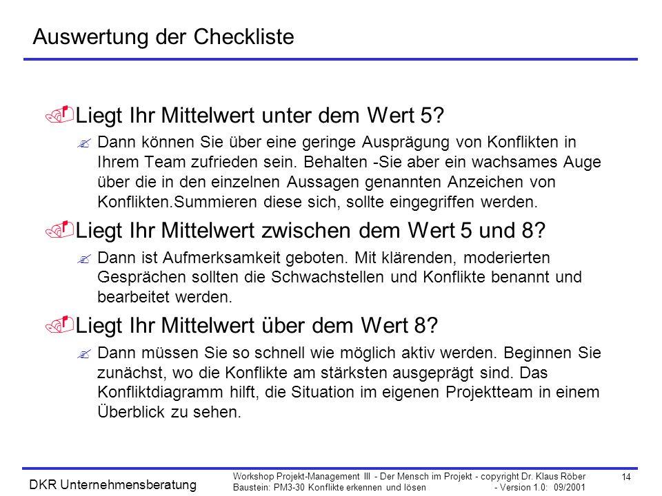 14 Workshop Projekt-Management III - Der Mensch im Projekt - copyright Dr. Klaus Röber Baustein: PM3-30 Konflikte erkennen und lösen - Version 1.0: 09