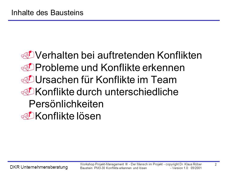 2 Workshop Projekt-Management III - Der Mensch im Projekt - copyright Dr. Klaus Röber Baustein: PM3-30 Konflikte erkennen und lösen - Version 1.0: 09/