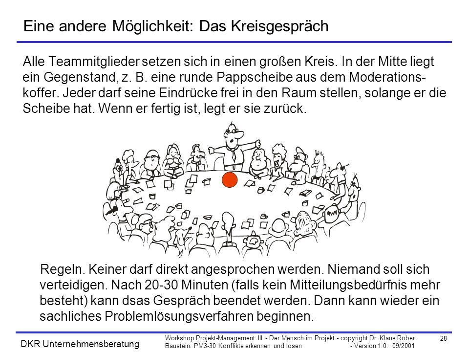 28 Workshop Projekt-Management III - Der Mensch im Projekt - copyright Dr. Klaus Röber Baustein: PM3-30 Konflikte erkennen und lösen - Version 1.0: 09