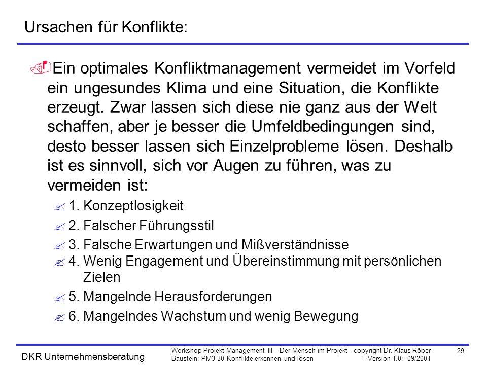 29 Workshop Projekt-Management III - Der Mensch im Projekt - copyright Dr. Klaus Röber Baustein: PM3-30 Konflikte erkennen und lösen - Version 1.0: 09