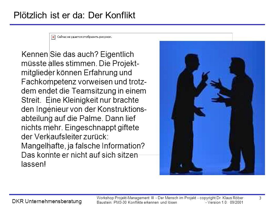 3 Workshop Projekt-Management III - Der Mensch im Projekt - copyright Dr. Klaus Röber Baustein: PM3-30 Konflikte erkennen und lösen - Version 1.0: 09/