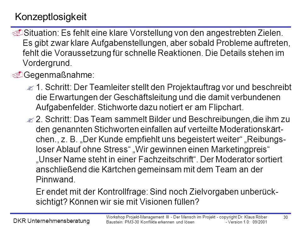 30 Workshop Projekt-Management III - Der Mensch im Projekt - copyright Dr. Klaus Röber Baustein: PM3-30 Konflikte erkennen und lösen - Version 1.0: 09