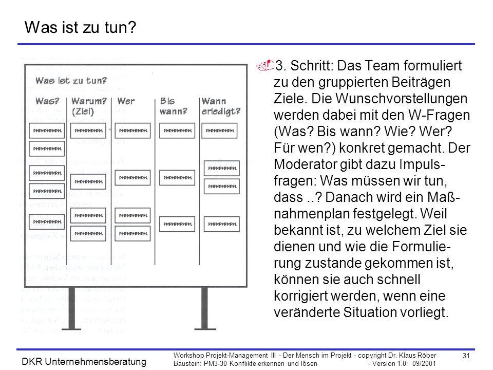 31 Workshop Projekt-Management III - Der Mensch im Projekt - copyright Dr. Klaus Röber Baustein: PM3-30 Konflikte erkennen und lösen - Version 1.0: 09
