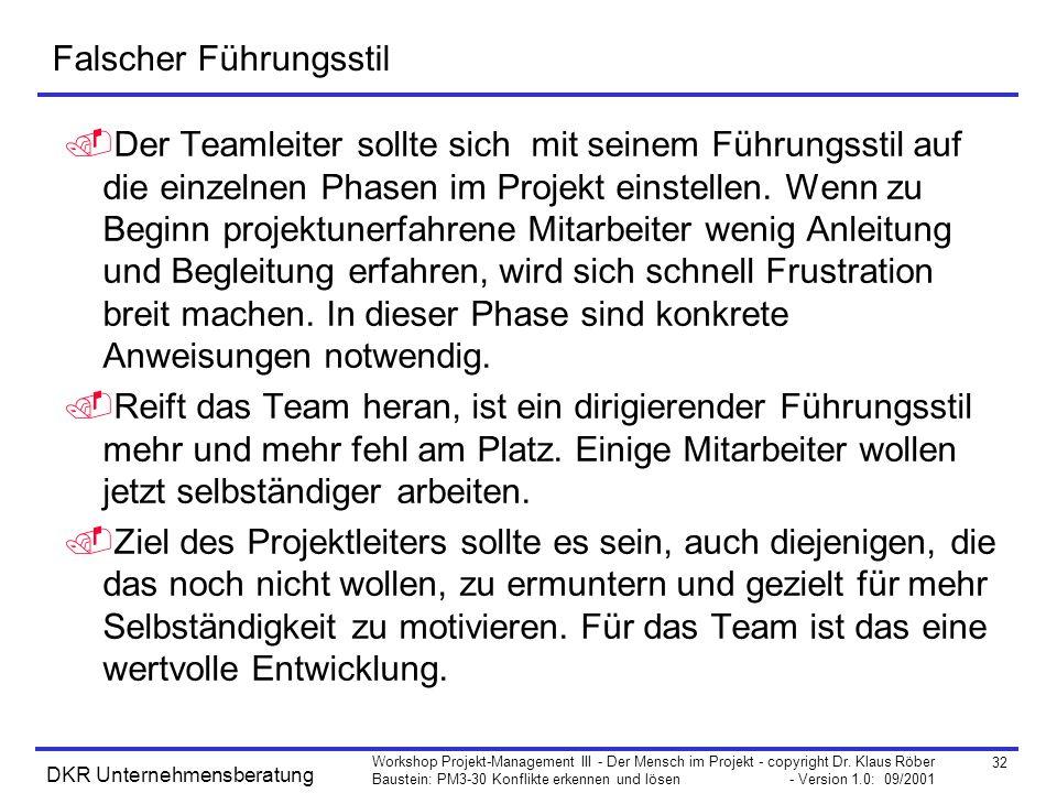 32 Workshop Projekt-Management III - Der Mensch im Projekt - copyright Dr. Klaus Röber Baustein: PM3-30 Konflikte erkennen und lösen - Version 1.0: 09