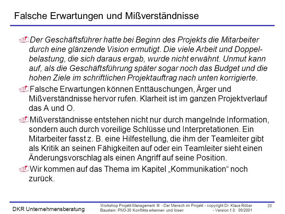 33 Workshop Projekt-Management III - Der Mensch im Projekt - copyright Dr. Klaus Röber Baustein: PM3-30 Konflikte erkennen und lösen - Version 1.0: 09