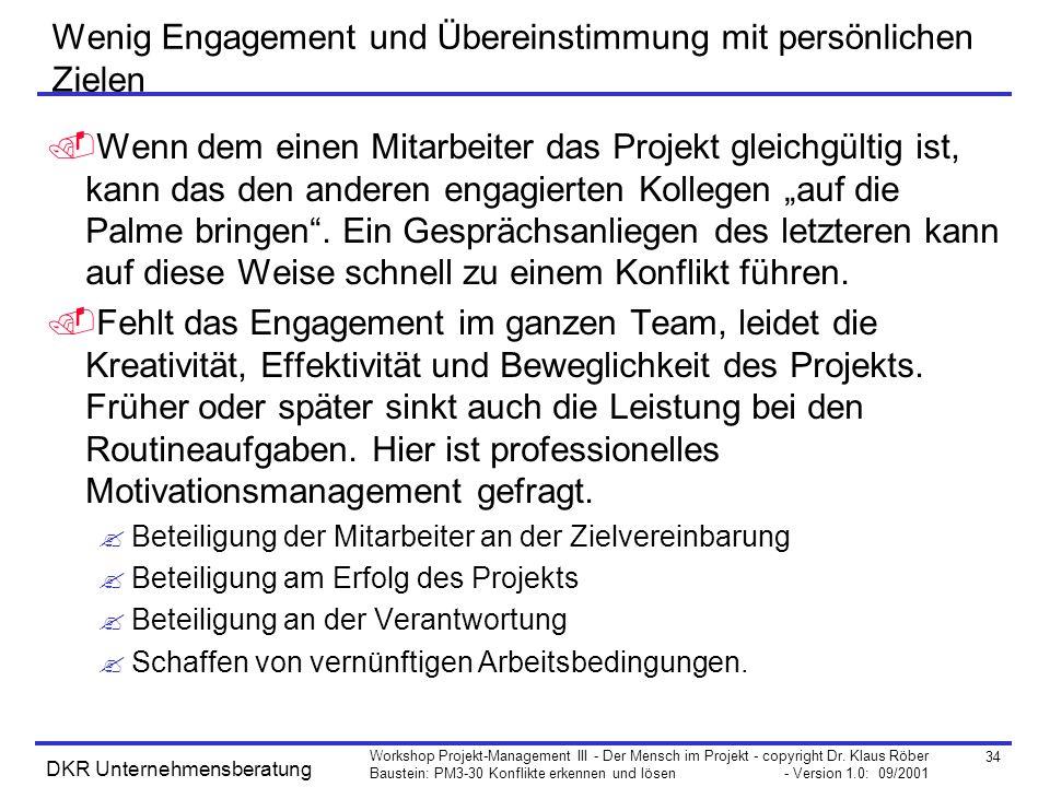 34 Workshop Projekt-Management III - Der Mensch im Projekt - copyright Dr. Klaus Röber Baustein: PM3-30 Konflikte erkennen und lösen - Version 1.0: 09